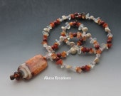 Agate Carnelian Crystal Healing Necklace 22.8 Inches Chakra Healing Spiritual Wiccan Pagan Shells Red Jasper Quartz