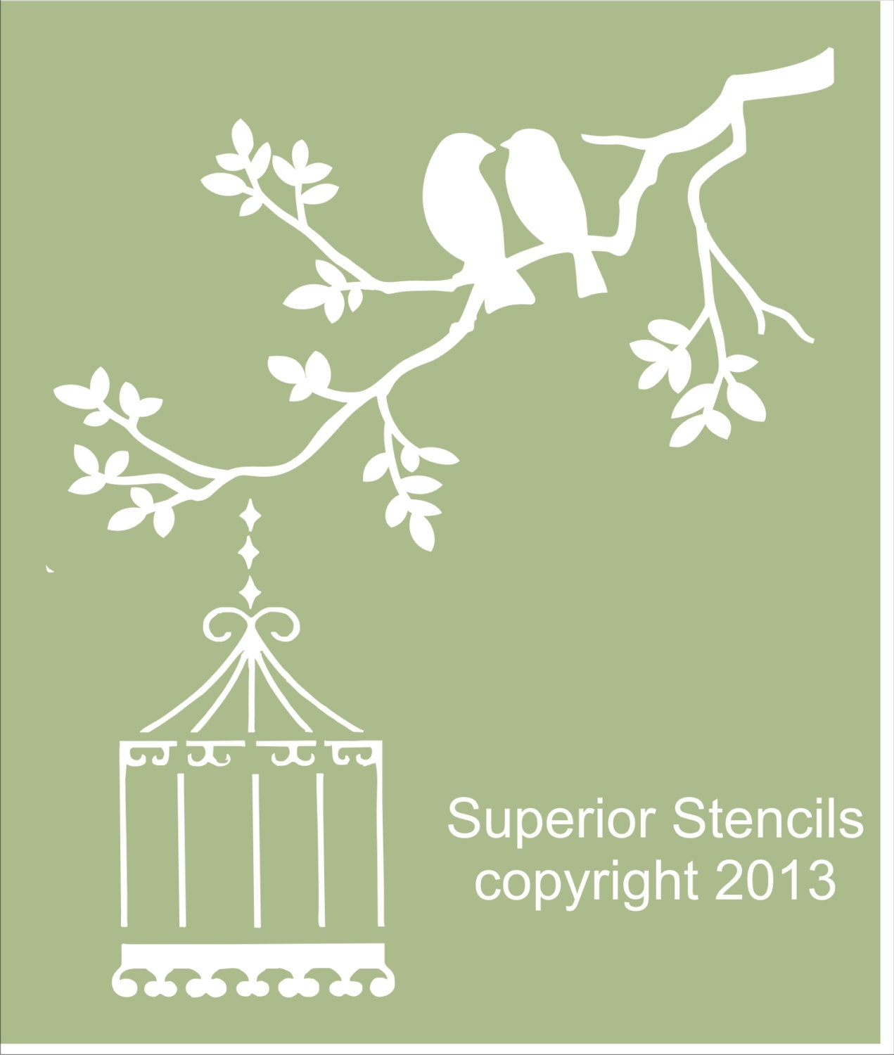 Two birds on branch reusable stencil 4 sizes available zoom amipublicfo Gallery