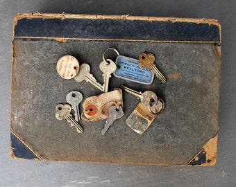 Vintage Salvaged Metal Keys. Some w/ Realtor Tags. Set of 7 Old Small Keys. Drawer Pull, Jewelry Supplies, Display, Assemblage.