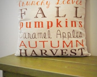 SALE- this weekend ONLY, Fall Pillow Cover, Subway Art, Fall Decor, Fall pillow
