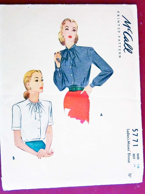 1940s McCalls Pattern 5771 Tailored Blouses with Two Design Options Size 16 Bust 34 pantrydoor@etsy