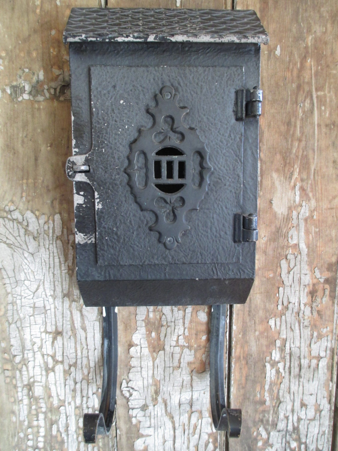 Vintage Cast Iron Mailbox Wall Mount Design With