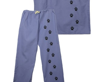 Scrub top scrub pants with dog paw prints, dog scrubs,nursing scrubs,vet tech,scrub shirt,dog groomer,lounge,surgical scrubs,medical scrubs