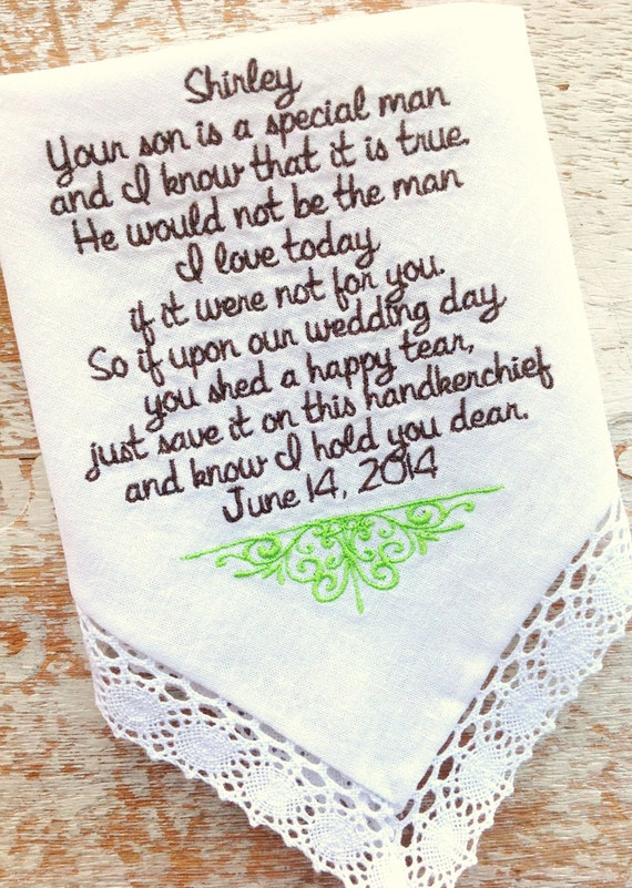 Wedding Gift From Groom To Mother In Law : Mother in Law from Bride Wedding heirloom handkerchief custom ...