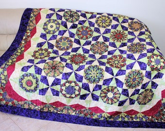 Kaleidoscope Garden Bed Quilt, Vibrant Colors, Large Couch Quilted Throw, Graduation Gift, Gift for Mom, Jeweltone Colors, Quiltsy Handmade