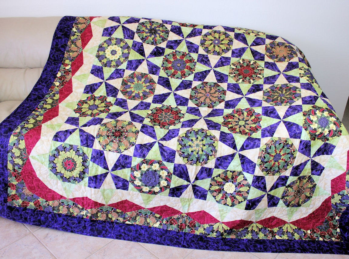 Kaleidoscope Garden Bed Quilt Vibrant Colors Large Couch
