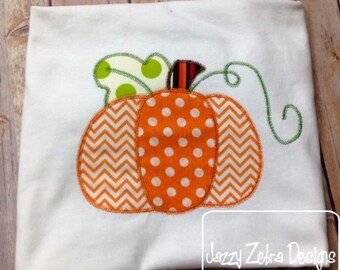 3 Color Pumpkin appliqué embroidery design with Square Diagonal Stitching - pumpkin appliqué design - Thanksgiving appliqué design - Fall