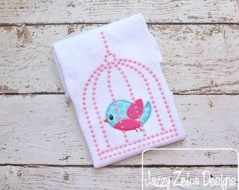 Bird in Cage Appliqué embroidery Design - bird appliqué design - cage applique design - spring appliqué design - girl appliqué design