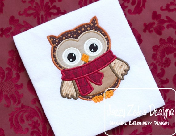 Winter Owl Applique embroidery Design - owl Applique Design - winter Applique Design