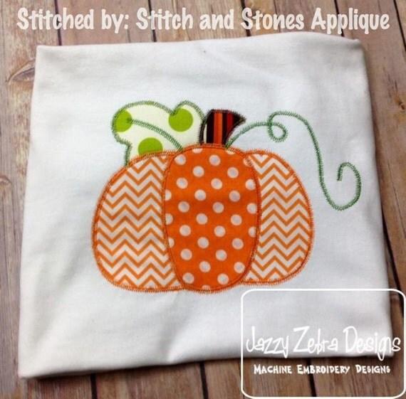3 Color Pumpkin appliqué embroidery design with Square Diagonal Stitching - pumpkin appliqué design - Thanksgiving appliqué design - Fall