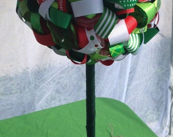 Large Christmas Colors Ribbon Topiary. Great for events and room decor for your holidays.