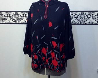 1960's Black & Red Tulip Mod Tunic by Ample Togs of California, Size 22W / 24W Plus Size, Vintage 60's / 70's Rockabilly Tunic Blouse