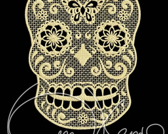 MACHINE EMBROIDERY FILE - Sugar skull lace
