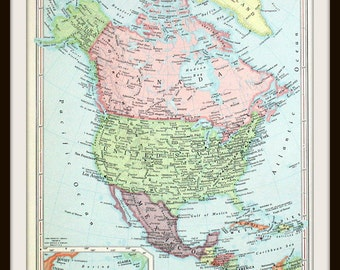 North America Map, 9 x 13, United States, Canada, Mexico, Large Antique 1960's Map, Ready to Frame