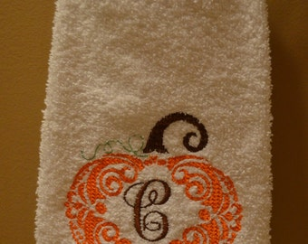 Fall Pumpkin Personalized Monogrammed Hand Towel- White