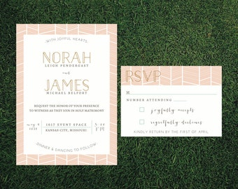Modern Herringbone Wedding Invitation // DIY Printable // Modern Wedding, Whimsical Wedding, Pastel Invitation