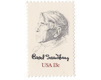 1978 13c Carl Sandburg - 10 Unused Vintage Postage Stamps - Item No. 1731