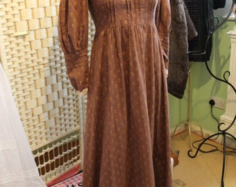 LAURA ASHLEY brown victoriana prairie dress - 1970S - Size 8 (UK)