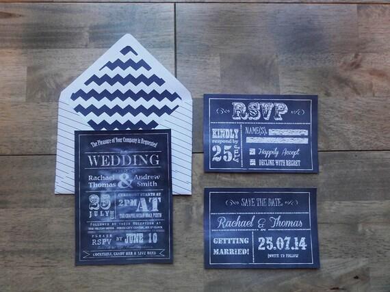 Wedding - Civil Ceremony - Chalkboard - Personalized - Stationary Suite - Invitation - Rsvp - Save the Date - PRINTABLES - Digital