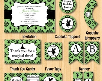 Wicked birthday party package print able cupcake toppers banner