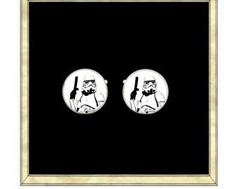 Storm Trooper Cufflinks- Silver Plated Cufflinks
