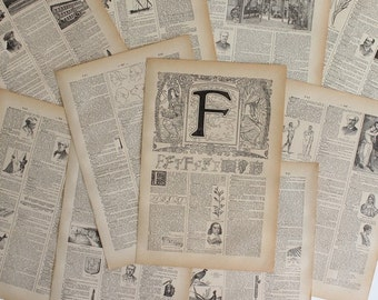 A4 1922 CALLIGRAPHY Alphabet Letter F Illustrative Litho Print French Larousse // FREE SHIPPING // B3514