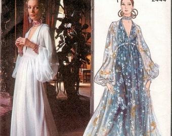 70s SEXY Guy Laroche Evening Gown Pattern Vogue Paris Original 2444 Low Cut High Waist Dress Full Sleeves Sz 10 Vintage Sewing Pattern