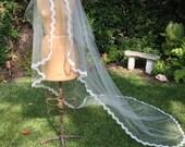 Veil, Cascade Veil Alencon Lace Edge,  French Imported Lace, Chapel Length Veil -   Elizabeth Veil