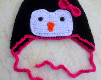 Adult Pink Penguin Hat - Pink Penguin Crochet Hat - Adult Penguin Hat - Pink Crochet Penguin Hat - Crochet Penguin Hat - Pink Penguin