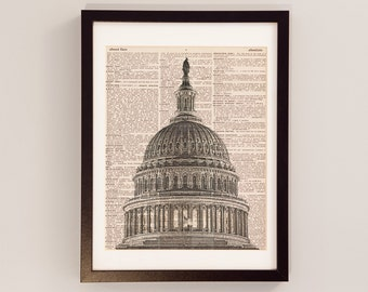 Washington DC Dictionary Art Print - US Capitol Art - Print on Vintage Dictionary Paper - United States Capitol Building Rotunda Print