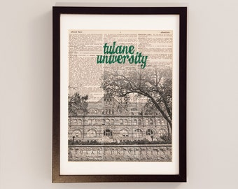 Tulane University Dictionary Print - Gibson Hall, New Orleans, Louisiana - Vintage Dictionary Paper - Green Wave, NOLA, Graduation Gift