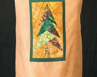 Handmade Women's Vest L  Hand Quilted Pinetree Decoration