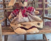 Hand Crafted-Primitive Stuffed Bunny Doll-Primitive Decor-Primitive Easter Doll-Primitive Easter Bunny