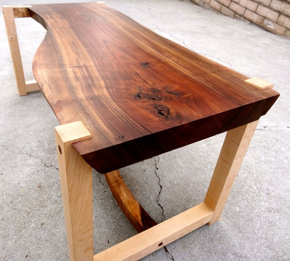 All wood walnut slab table with hard maple legs for Wood slab coffee table