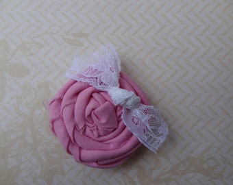 Pink Rolled Fabric Flower Hair Clip