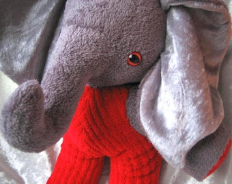Red Pants Elephant Firefighter Home Decor Soft Stuffed Plush Toy Animal Unique Handmade Ooak