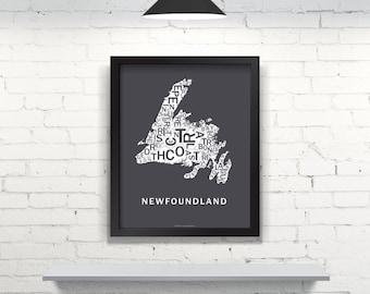 Far Sky Newfoundland Typographic Map