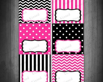 Hot Pink Black Birthday Baby Shower Digital Printable Food Label Buffet Name Tags Tent Cards DIY