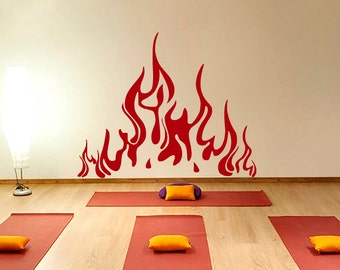 Wall Decals Fire Flame Decal Vinyl Sticker Fireplace Home Decor Fire Flame Art Design Living Room Bedroom Dorm Window Chu162