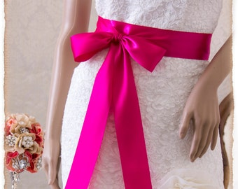 Bridal Sash, FUCHSIA Satin Ribbon Sash, Wedding Sash, Satin Ribbon Sash, Bridal Belt, Fuchsia Sash
