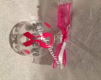 """Breast Cancer Ribbon """"Believe"""" Customized Personalized Glass Christmas Ornament with Coordinating ribbons and polka dots"""