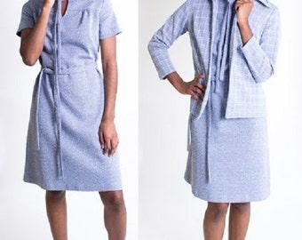 Vintage 1960's Light Blue Two Piece Mod Suit / Short Sleeve Dress / Matching Jacket / Size Large / Warm / Tie Waist / Scooter