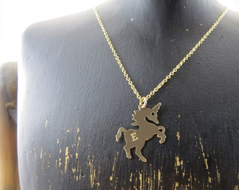 Personalized Unicorn necklace, Gold filled unicorn necklace, gold unicorn pendant, initial necklace, gold unicorn necklace, unicorn charm