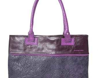 Sale, Purple Embossed Leather Bag, Violet Leather Textured Handbag, Cow Leather Bag, iPad Bag, One-of-a Kind Bag, Mothers' Day Unique Gift.