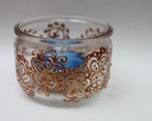 Glass Tealight Candle Holder- Handpainted Copper Floral  Design