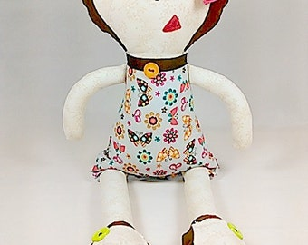 Custom Rag Doll - Girl Plush Doll with Butterfly Dress - Pink Bow in Brown Hair