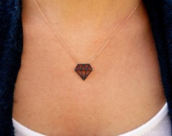 Black Diamond Pendant Necklace. Rose Gold Vermeil 925 Silver Charm .