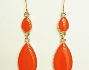 Bright Orange Earrings, Orange Teardrop Earrings, Orange Resin Teardrop Earrings, Hypoallergenic, Bridesmaid, For Her, Resin Jewelry