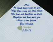 Personalized Wedding Gift For Mother Of The Bride Handkerchief Embroidered Custom Wedding Gift. FREE Gift Box (C)