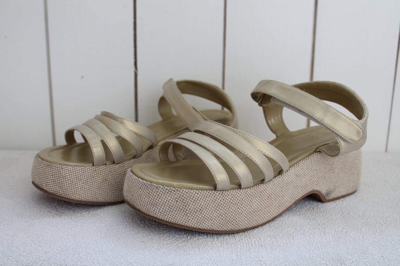 vintage 90 s platform shoes chunky beige summer by
